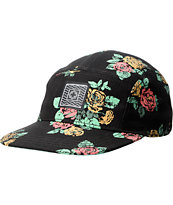 Empyre Girls Black Boquet Floral Print 5 Panel Hat