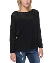 Empyre Girls Black Chiffon Back Sweater