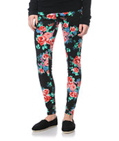 Empyre Girls Black Floral Print Leggings