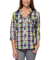 Empyre Girls Bristol 2 Purple & Yellow Plaid Hooded Shirt