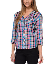 Empyre Girls Bristol 2 Turquoise & Pink Plaid Hooded Shirt
