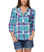 Empyre Girls Bristol 2 Turquouse & Purple Plaid Hooded Shirt