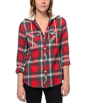 Empyre Girls Bristol Red Plaid Hooded Flannel Shirt