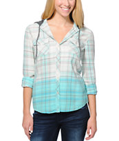 Empyre Girls Bristol Turquoise Dip Dye Plaid Button Up Shirt
