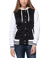 Empyre Girls Brooke Black & White Varsity Tech Fleece Jacket