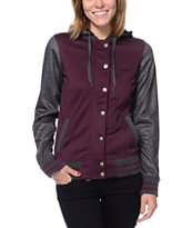 Empyre Girls Brooke Charcoal & Purple Varsity Tech Fleece Jacket
