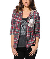 Empyre Girls Cambridge Red Hooded Flannel Shirt