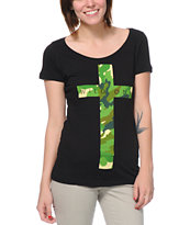 Empyre Girls Camo Cross Black Tee Shirt