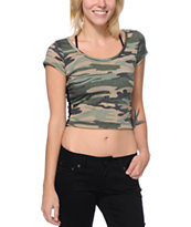 Empyre Girls Camo Print Lace Back Crop Top