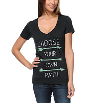 Empyre Girls Choose Your Path Charcoal V-Neck Tee Shirt
