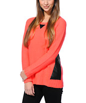 Empyre Girls Coral & Black Crew Neck Sweater
