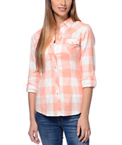 Empyre Girls Coral Buffalo Plaid Button Down Shirt