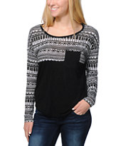 Empyre Girls Corey Black & White Tribal Print Top