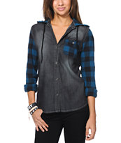 Empyre Girls Cozine Black & Blue Plaid Hooded Shirt