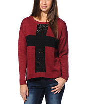 Empyre Girls Cross Dark Red Sweater