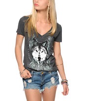 Empyre Girls Dream Catcher Wolf Charcoal V-Neck Tee Shirt