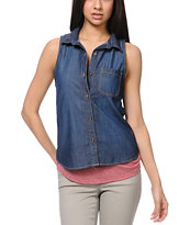 Empyre Girls Elle Indigo Sleeveless Denim Shirt