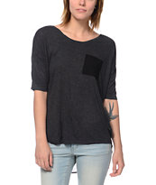 Empyre Girls Ellum Charcoal & Black Chiffon Dolman Top