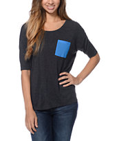 Empyre Girls Ellum Charcoal & Blue Chiffon Dolman Top