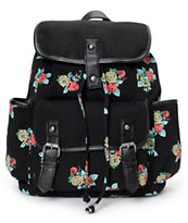 Empyre Girls Emily Floral Print Black Rucksack Backpack