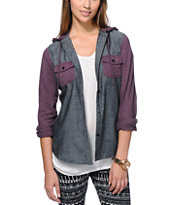 Empyre Girls Exeter Confetti Black Chambray Hooded Shirt
