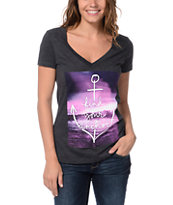 Empyre Girls Find Your Anchor Charcoal V-Neck Tee Shirt