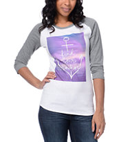 Empyre Girls Find Your Anchor White & Charcoal Baseball Tee Shirt