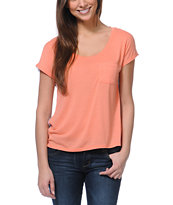 Empyre Girls Finnley Coral Chiffon Back Shirt