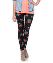 Empyre Girls Floral Print Black Leggings