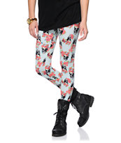 Empyre Girls Floral Skull Mint Leggings