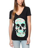 Empyre Girls Flower Skull Black V-Neck Tee Shirt