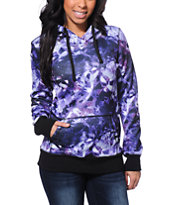 Empyre Girls Frostier Purple Galaxy Print Tech Fleece Jacket