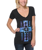 Empyre Girls Galactic Cross Charcoal V-Neck Tee Shirt