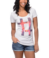 Empyre Girls Galaxy Cross White Scoop Neck Tee Shirt
