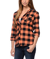 Empyre Girls Hampton Coral Buffalo Plaid Hooded Flannel Shirt