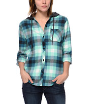Empyre Girls Hampton Green Buffalo Plaid Hooded Flannel Shirt