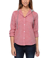 Empyre Girls Hampton Red Chambray Hooded Shirt