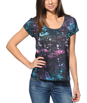 Empyre Girls Hatfeild Black Galaxy Sublimated Tee Shirt