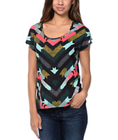 Empyre Girls Hatfield Black Chevron Print Dolman Top
