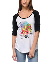 Empyre Girls Head Dress Baseball Tee Shirt