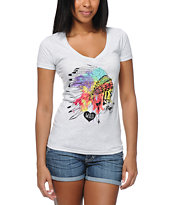 Empyre Girls Head Dress Heather White V-Neck Tee Shirt
