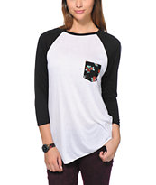 Empyre Girls Indira Floral Pocket White Baseball Tee Shirt