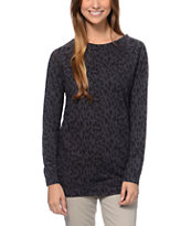 Empyre Girls Ingleside Animal Print Black Crew Neck Sweatshirt