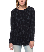Empyre Girls Ingleside Crosses Black Crew Neck Sweatshirt