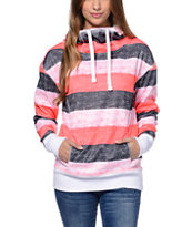 Empyre Girls Isabel Coral Stripe Pullover Tech Fleece Jacket