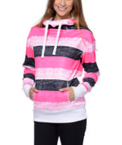 Empyre Girls Isabel Pink Stripe Pullover Tech Fleece Jacket