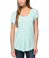 Empyre Girls Janesville Ice Green Geo Ikat Print Dolman Top