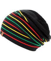 Empyre Girls Juliet Black Rasta Stripe Slouch Beanie