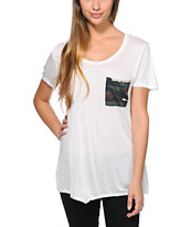 Empyre Girls Kessler Camo Pocket White Tee Shirt