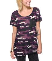 Empyre Girls Kessler Purple Camo Print Pocket Tee Shirt